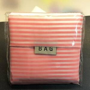 エコバッグ ショッピングバッグ 折り畳みバッグ ポータブル コンパクト 多機能 ストライプ ピンク