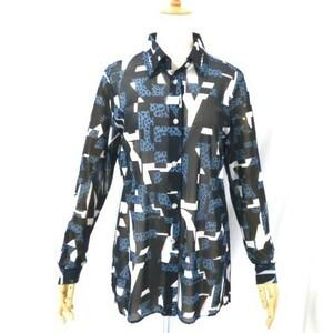 H11●美品!バレンザ 華やか♪スワロフスキー付 長袖メッシュ ブラウス シャツ 黒 青 白系柄 42 L 日本製 薄手 シースルー VALENZA