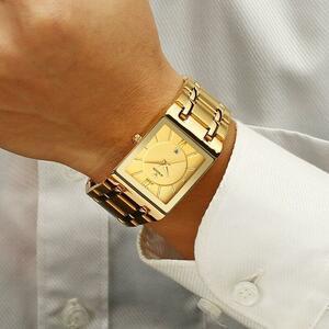 レロジオmasculino wwoorゴールド腕時計メンズスクエアメンズ腕時計トップブランド高級ゴールデンクォーツステンレス鋼防水腕時計