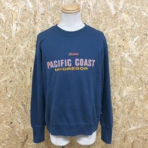 McGREGOR PACIFIC COAST マックレガー M メンズ スウェットシャツ トレーナー 裏毛 ロゴプリント 丸首 長袖 袖口リブ長め 綿100% ブルー系