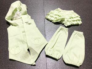 ≦ ドール服 ベスト キュロットスカート アンバーパンツ セット SD SD13 女の子用 ドール 人形 衣服 衣類 ハンドメイド sucrerie sept 緑