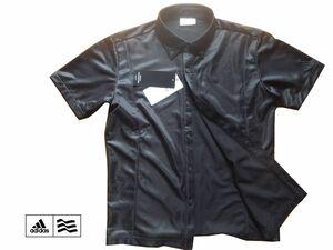 新品 adidas GOLF アディダス ゴルフ 光沢ボタンダウン 刺繍入り 黒 半袖 Mサイズ ブラック 半袖シャツ ゴルフウェア ゴルフシャツ ウェア