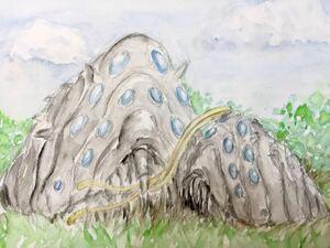 手描きイラスト 原画 1点もの 王蟲の親子 王蟲 ジブリイラスト ファンアート 風の谷のナウシカ B5 水彩紙 同人 水彩 【あおきしずか】
