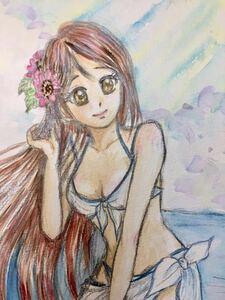 手描きイラスト 原画 1点もの リコちゃん 桜内梨子 ラブライブサンシャイン ラブライブ! B5 水彩紙 同人イラスト 水彩 【あおきしずか】