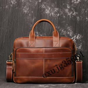 高級本革 厚手牛革 メンズバッグ ブリーフケース ビジネスバッグ 手作り トートバッグ 14PC対応 A4書類 通勤 出張 鞄 480