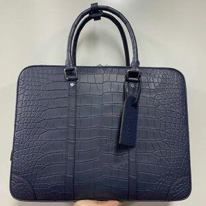 クロコダイル ワニ革保証 A4/PC対応 レザー 本革 手提げ トート ブリーフケース ビジネスバッグ メンズ ハンドバッグ 男女兼用通勤用 鞄