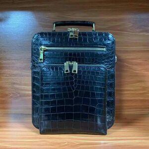 ワニ革保証 クロコダイル レザー 本革 腹部革 多機能 大容量 2way 斜め掛け ショルダーバッグ ボディバッグ 通勤用メンズ 鞄 男女兼用