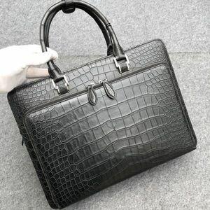 ワニ革 クロコダイル レザー 本革 A4/PC対応 斜め掛け トート ショルダーバッグ ブリーフケース ビジネス メンズ ハンドバッグ 通勤用 鞄