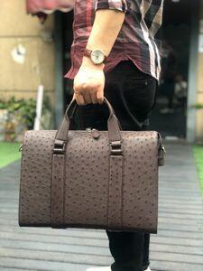 高級品 オーストリッチ レザー ダチョウ革 本革 通勤用 A4/PC ビジネス ショルダーバッグ メンズ トート ハンドバッグ ブリーフケース 鞄