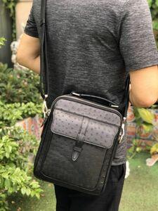オーストリッチ レザー ダチョウ革 本革 通勤用 斜め掛け ビジネス ワンショルダーバッグ 2way メンズ トート ハンドバッグ 手提げ 鞄