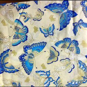 生地 ハギレ 布 和柄 蝶 花柄 50cm 金糸プリント 白色