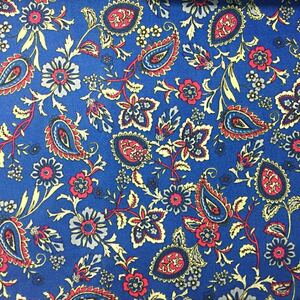 生地 ハギレ 花柄 50cm ペーズリー柄 ファブリック ブルー