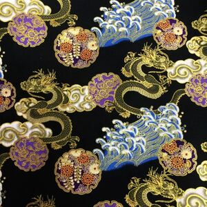 生地 ハギレ 和柄 金龍と家紋 花柄 50cm 金糸プリント 黒色
