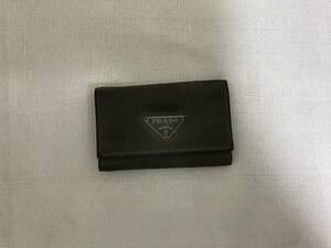 本物プラダPRADA本革レザーナイロン6連キーケース鍵キーリンググレービジネス旅行トラベルレディースメンズ