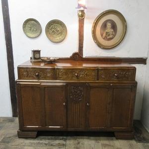 イギリス アンティーク 家具 サイドボード キャビネット 食器棚 飾り棚 収納 木製 オーク 英国 SIDEBOARD 6602b