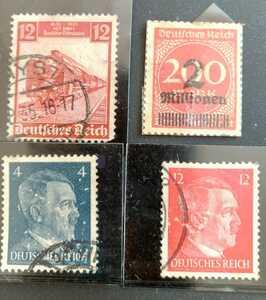 中古訳あり即決可旧ドイツ切手WWII第3帝国元首ヒトラー像含め使用済3枚インフレ加刷未使用1枚