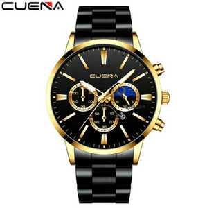 【即納】新品 デュアル クロノグラフ 高クオリティー CUENA 腕時計メンズ ラグジュアリー 黒