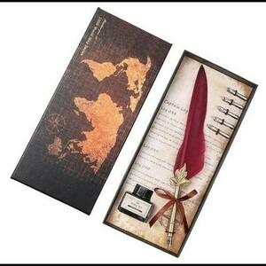 ■新品■ レトロ ヴィンテージデザイン 書道 羽つけ ペン 筆記 セット クイル 万年筆 誕生日 プレゼント