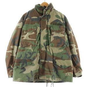 90年代 米軍実品 U.S.ARMY ウッドランドカモ 迷彩 M-65 ミリタリー フィールドジャケット USA製 MEDIUM SHORT メンズL /eaa110608