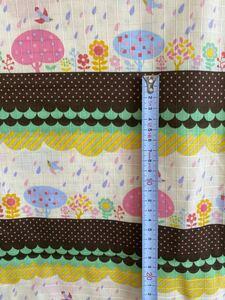 はぎれ 生地[送料込]小鳥 花 雨 ピンク 水色 メルヘン 113×520