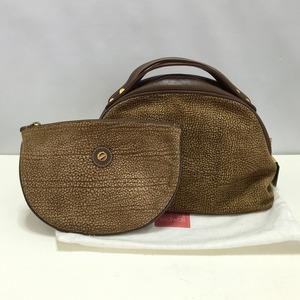 極美品 ボルボネーゼ ハンドバッグ ポーチ付き うずら柄 スエードレザー BORBONESE 保存袋付き レディース 質屋の質セブン