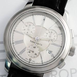 ティファニー TIFFANY&CO. マーククロノ 070220454 クロノグラフ メンズ 腕時計 デイト シルバー 文字盤 クォーツ 電池交換済 CF5401