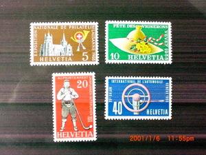 55年記念切手4種ーローザンヌ切手展記念ほか 4種完 未使用 1955年 スイス共和国 VF/NH