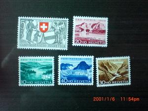 愛国寄付金切手ースイスの川と湖 4種完 未使用 1952年 スイス共和国 VF/NH