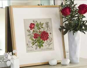 クロスステッチキット 紅薔薇 32×32cm 18CT 刺繍キット バラ ばら