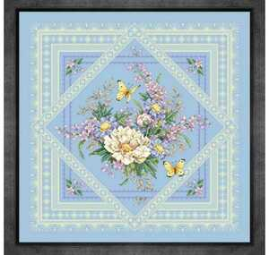 クロスステッチキット フラワー&レース(アイスブルー) 14CT 41×41cm 刺繍キット