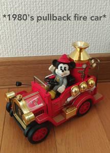 レア 1980年代 美品 ブリキ 日本製 ディズニー プルバックカー 仕掛けあり ミッキー 消防車 マスダヤ製 アンティーク おもちゃ
