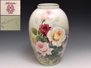 プレミアノリタケ バラ文 木村義一 ハンドペイント 高さ:30㎝ 花瓶 花器 花生 花入れ 壷 1954年頃~1966年頃  b9775s
