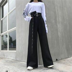 ワイドパンツ ウエストベルト イージーパンツ ボトムス ワイドレッグパンツ フレアパンツ 韓国系 オルチャン レディース 黒 ブラック M