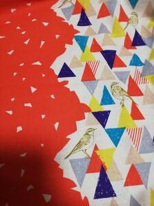 綿麻シーチング、エチノ、小鳥、三角、150cm幅、1m