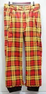 Burton バートン ボードパンツ メンズ海外L 日本のXL相当 赤黄色チェック柄 防水透湿