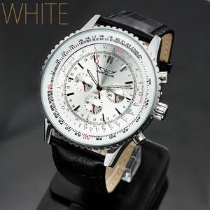 【送料無料】【税込み】【全針稼動の本格仕様】ビッグフェイス・自動巻きクロノグラフ腕時計【 BOX・保証書付き 】ホワイトW-BCG40-WH