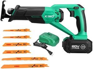 KIMO 充電式レシプロソー 充電式のこぎり 20V 4.0Ahリチウムバッテリー1個搭載 無段変速 急速充電器付き コードレス ストローク長20mm