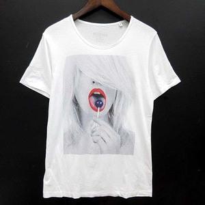 ノーコメントパリ NO COMMENT PARIS Tシャツ カットソー コットン 半袖 プリント 薄手 クルーネック イタリア製 ホワイト 白 S メンズ