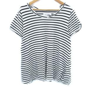 ジュエティ Tシャツ カットソー 半袖 ラウンドネック 透け感 ロゴ刺繍 ボーダー柄 M モノトーン 白 黒 ホワイト ブラック /FF18 レディース