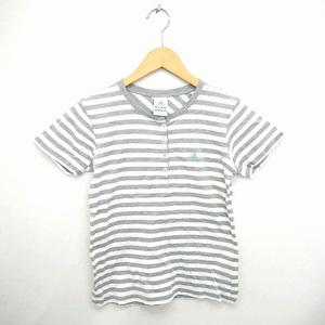 アディダス adidas 国内正規品 Tシャツ カットソー ボーダー ヘンリーネック ロゴ 刺繍 半袖 M グレー ホワイト 灰 白 /TT15