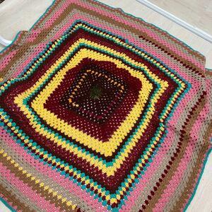 ハンドメイド ニット ソファカバー こたつカバー 毛糸 手編み 150 × 145 送料込み