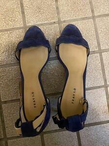 フレイアイディー FRAYI.D ストラップサンダル ミュール パンプス ヒール シューズ 靴 コバルトブルー ネイビー 青 ベロア サイズ39