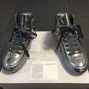 未使用品【ジミーチュウ】本物 JIMMYCHOO 靴 24cm シルバー色系 ハイカットシューズ スニーカー ショートブーツ レザー メンズ 伊製 39 箱