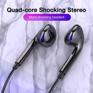 Mz010:クアッドコア モバイルワイヤードヘッドホン 3.5mm スポーツイヤフォン ステレオヘッドセット マイクミュージックイヤフォン
