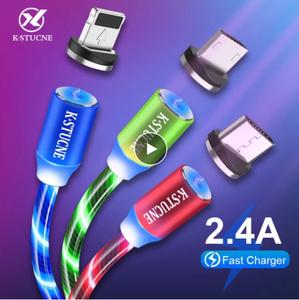 Mz016:携帯電話充電用2M磁気ケーブル フローライトLEDケーブル マイクロUSB タイプC 急速充電ワイヤーコード