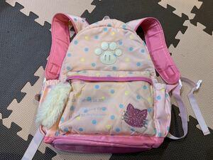 リュックサック キッズ 子供 バッグ 遠足 幼稚園 保育園 小学校 猫 ネコ ねこ ピンク 女の子 女児 カバン 鞄 ランドセル