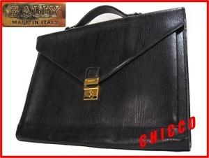 即決★美品 BALLY バリー イタリア製 本革 レザー スリム ブリーフケース ビジネスバッグ 鍵付 黒 ブラック 手提げ 鞄 かばん ハンドバッグ
