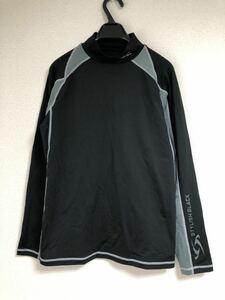 STYLISH BLACK スタイリッシュブラック *ハイネック 裏起毛 速乾生地 *Tシャツ カットソー トレーニング スポーツ *M size 黒