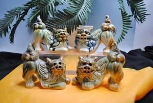 sa224si-sa-. ornament /4 point set / ceramics made /. except ./ decoration / interior / entranceway / pair /. earth production / festival ./ Okinawa / feng shui