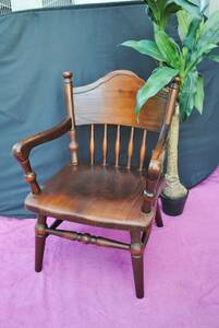 sa29 * dining chair / dark brown / low chair / armrest attaching / stylish /1 seater ./ natural tree / antique / chair / European style